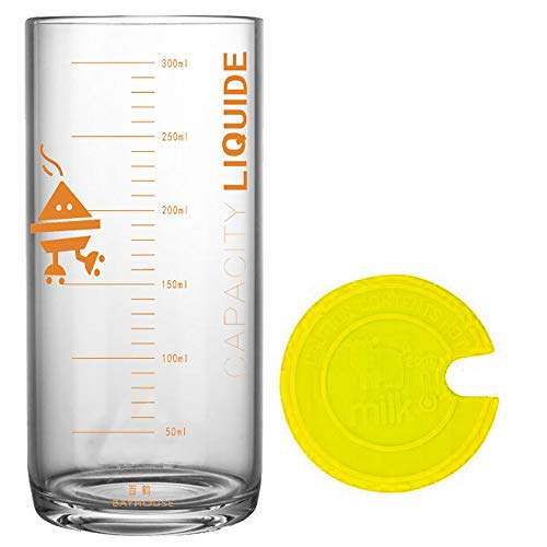 TAMUME 330ML Vaso y Taza de Cristal para Leche con Medidas,Vaso con Medidas y Tapa Amarilla de Silicona - Amarilla