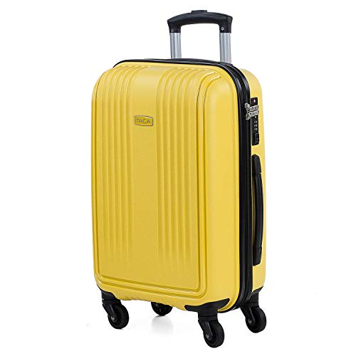 ITACA - Maleta de Viaje Cabina Avion Rígida Pequeña y Ligera con 4 Ruedas Hombre Mujer Trolley 55x40x20 cm. Material Muy Resistente. Equipaje de Mano. Candado con Combinación TSA. 76035, Color Mostaza