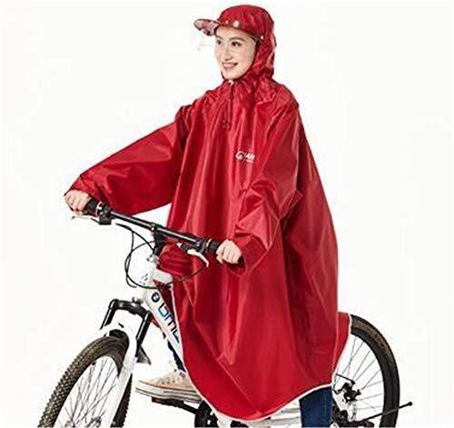 ZXL Regenjas Helm Mouwen Regen Poncho Bike Waterdichte Cyclus Regen Cape Voor Outdoor Sport Camping, Wandelen, Vissen, Fietsen - Half Gezicht Cover Rode Regenkleding (Maat: XXX-Large)