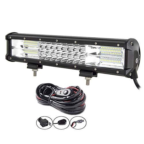 AUXTINGS 15 Zoll 216W LED Lichtleiste dreireihig Spot Flood Combo Beam Off Road Lichter wasserdicht Arbeitslicht Kabelbaum für LKWs SUV ATV UTV Lichter