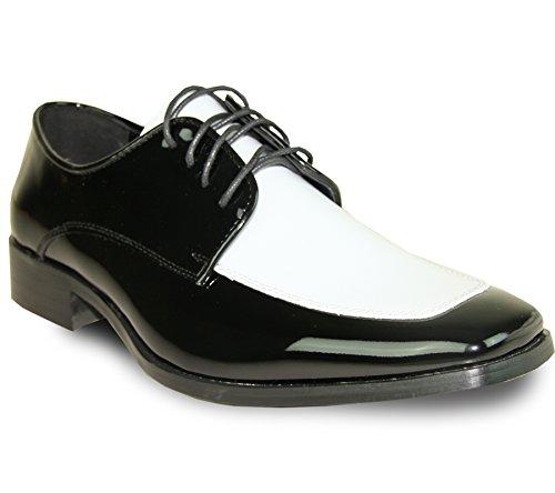 VANGELO Tuxedo Tux-3 Chaussures de smoking pour homme bicolore sans plis Noir 8,5 m