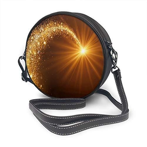 Rterss Runde Schultertasche aus echtem Leder, Vintage-Stil, verstellbarer Schulterriemen für Frauen, Weihnachtsstern, Golden Meteor Flash