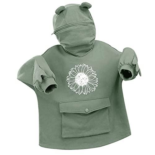 NAQUSHA Women's Frog Hoodie Leisure Autumn Winter Halloween Fashion Creative Splicing Three-dimensional Cute Design Pocket Pullover Long Sleeve Sweatshirt Zip Pullover, Green, XL