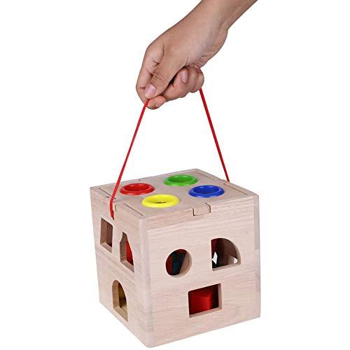 Houten puzzel Assortiment Geometry Building Block Game niet giftig Preschool Educatief speelgoed voor baby,Beige