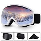 Baban Lunettes de Ski Masque de Snowboard Anti-UV Anti-buée avec Double Lentille Amovible Lunettes de Protection avec Grande...