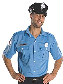 Rubie s Heroes And Hombres Adult Police Officer Shirt And Hat Blue Standard
