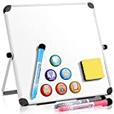 Small Dry Erase White Board 10'x10', Homemaxs Magnetic Boards for Kids Students with 6 Magnets 10 Non-slip Pads 3 Markers & Eraser, Portable Double-Sided Desktop White Board with Stand for Home Office
