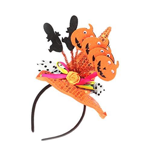 VALICLUD 2Pcs Headband Do Dia Das Bruxas Fantasma E Abóbora Laranja Lantejoulas Chapéu de Bruxa de Cabelo Faixa de Cabelo Hoop Acessórios de Cabelo para Festa de Halloween Suprimentos