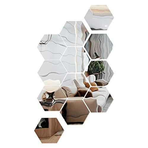 SUNTATOP Adesivi Murali a Specchio Esagonale Adesivo da Parete Specchio Acrilico Adesivo per Decorazione Murale Fai da Te 17,7x15,3x9 cm Set di 12, Argento