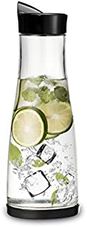Chefoh Glass Water Carafe With Lid And Protective Base, EZ Pour Drip Spout 1 Liter/ 33.8 Oz, Fridge Water Pitcher Bottle Dispenser, Great For Juice, Lemonade, Iced Tea, Milk, Wine (1)