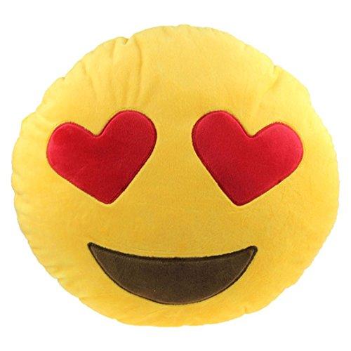 Ducomi Cuscini Emoji Emoticon Smiley e Poo - Morbido Cuscino 30 cm, Gadget Compleanno Regalo Bambini - Cuscini Decorativi Regalini Feste - Spedito da IT (Heart-Shaped Eyes)