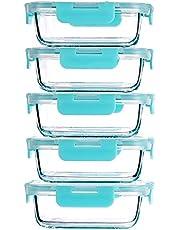 CREST 5 Pack Glas Voedsel Opslag Containers, 1040 ml Glas Maaltijd Prep Container, Voedsel Opslag, Luchtdichte Deksels Lekvrije Veilige Materialen Opslag Glaswerk Sets
