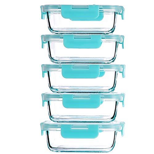 CREST 5-er Set Glas Frischhaltedosen 1040ml, Glasbehälter, BPA-frei, Spülmaschinen- Mikrowellen- und Gefrierschrankgeeignet