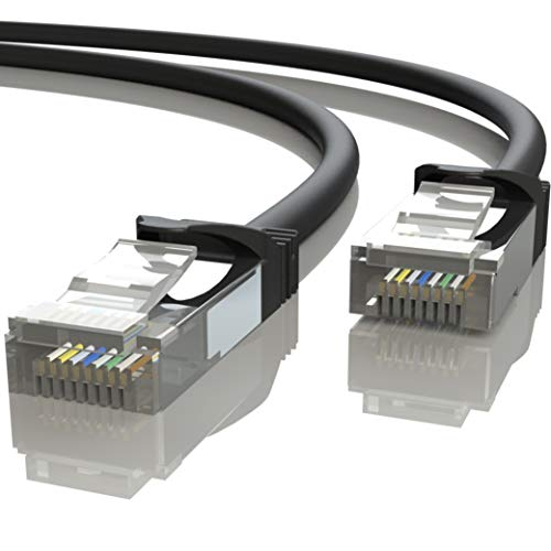 Mr. Tronic 20m Cable de Red Ethernet Latiguillo | CAT7, SFTP, CCA, RJ45 (20 Metros, Negro)