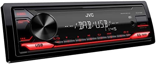 JVC KD-X172DB USB-Autoradio mit DAB+ (Hochleistungstuner,Soundprozessor, USB, MP3, WMA, FLAC, AUX-Eingang, 4 x 50 Watt, rote Tastenbeleuchtung, DAB+ Antenne*), Schwarz