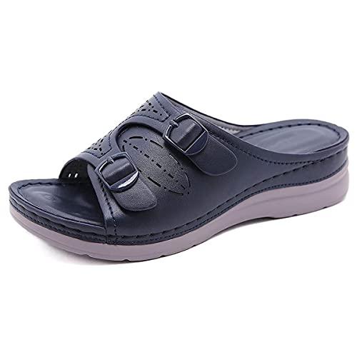 CHLDDHC Sandalias de cuña para mujer de verano ahueca hacia fuera antideslizante Peep Toe Sandalias al aire libre Casual Zapatos