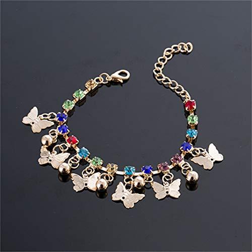 ZYHO Airlove Frauen Schmetterling Armband Vintage Schmetterling Strass Glocke Quaste Charms Armbänder Bunte Gliederkette Kristall Armreifen Schmuck Geschenke