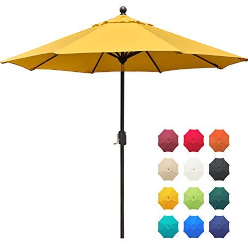 EliteShade Sunbrella 9Ft Market Umbrella Patio Outdoor Table Umbrella with Ventilation and 5 Years Non-Fading Top,Yellow