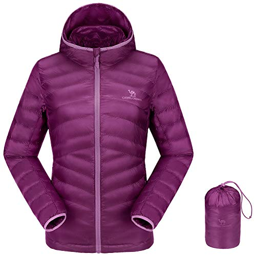 CAMEL CROWN Women's Lightweight Hooded Down Jacket Packable Puffer Insulated Coats XL Purple