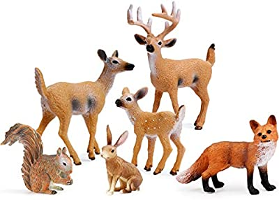 UANDME Forest Animals Figures, Woodland Creatures Figurines, Miniature Toys Cake Toppers by Uandme