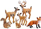 Forest Animals Figures, Woodland Creatures Figurines, Miniature Toys Cake Toppers (Deer Family, Fox, Rabbit, Squirrel)