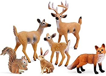 Forest Animals Figures Woodland Creatures Figurines Miniature Toys Cake Toppers  Deer Family Fox Rabbit Squirrel