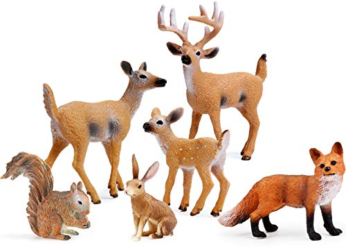 UANDME Forest Animals Figures, Woodland Creatures Figurines, Miniature Toys Cake Toppers