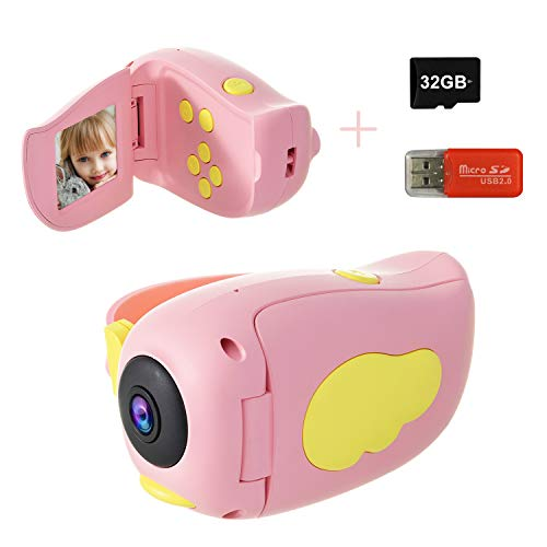 Kids Camera, DDAD Digital Video Camera Gifts for Boys and Girls, 10MP 1080P Toddler Video Recorder Rechargeable and Shockproof Creative DIY Camcorder for Children (32GB SD Card Included)