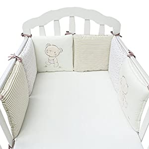 Jiyaru Ropa para cuna camas de bebé 6 Piezas Set Protector de Cuna 30 * 30 cm con Algodón Beige