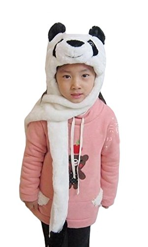 TONWHAR Cartoon Animal Hood Hoodie Hat with Attached Scarf and Mittens (Panda)