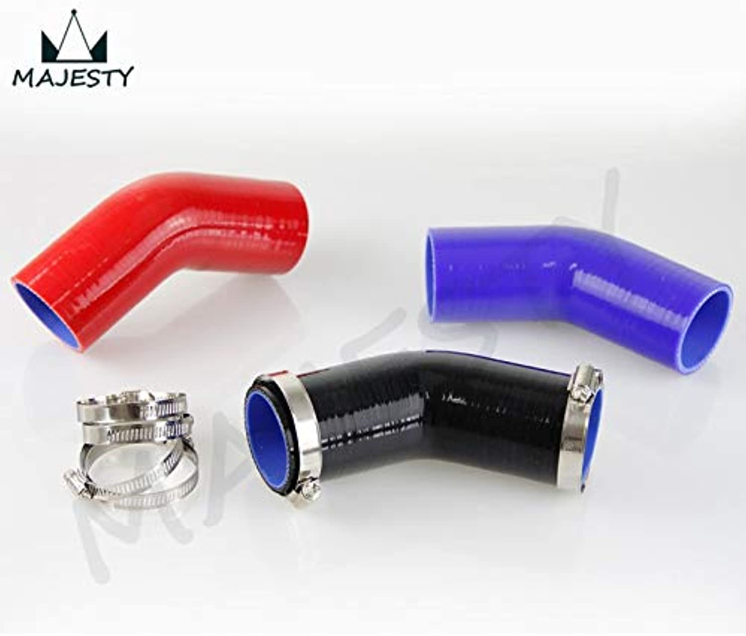 Fincos 45 Degree Racing Silicone Hose Elbow Coupler Intercooler Turbo Hose 57mm 2.25  inch+Clamps Black bluee red