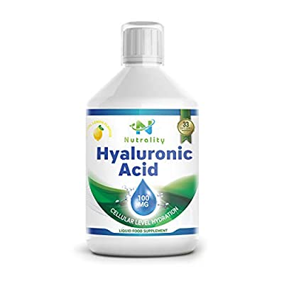 Nutrality Liquid Hyaluronic Acid Dietary Supplement, 100 mg, Low Molecular Natural Cell Hydrating Formula with Vitamin C for Advanced Joint Support, Vegan Friendly