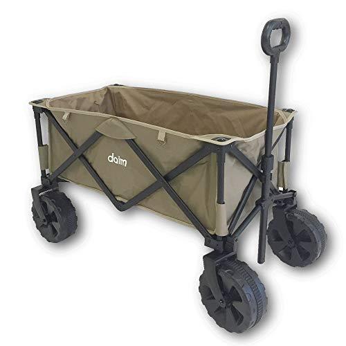 daim アウトドア キャリーワゴン 折りたたみ キャリーカート 4輪 大型タイヤ 耐荷重約100kg 大容量砂浜も砂利もぐんぐん走れる幅広タイヤ