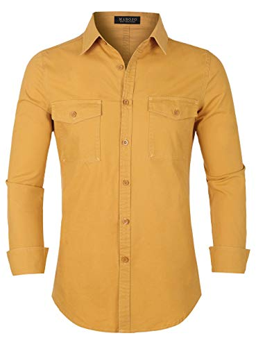 MAROJO Herren Freizeithemd mit Cargo Taschen Langarm Slim Fit Einfarbige Hemden Männer Shirts (Gelb, M)
