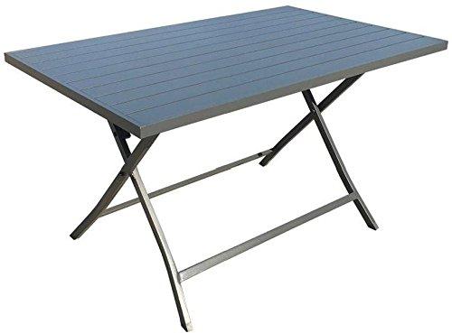 Tavolo da Giardino Pieghevole Alluminio 130x77 Antracite Lerici