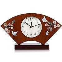 WFL クロック 置時計新中国のミュートウッド扇型時計リビングルーム中国風シェル時計ベッドルームデコレーションお座り時計クォーツ時計 最新の