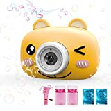 Bubble Machine Toys for Kids Toddlers Boys Girls, Automatic Bubble Blower with Bubble Solution Portable Bubble Maker Toy Gift for Children Birthday Party, Wedding, Outdoor Indoor Games (Yellow)