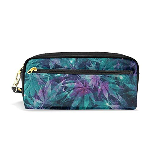 zhengchunleiX Ganja Galaxy Pencil Case with Compartments for Grils Boys Pen Pencil Bag Pouch Holder Organizer Large Long Leather Zipper