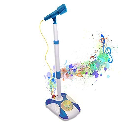 Karaoke Disco Light Adjustable Mic & Speaker Stand! Includes 12 pre-Loaded Popular Songs and Connects to iPods, Smartphones & MP3 Players (Blue)