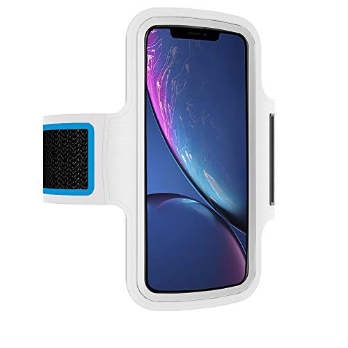 Brazalete Deportivo movil Compatible con Xiaomi Mi Mix 3 Running Deporte Funda Banda Deportiva Transpirable Bolsillo para Llaves Cables Auriculares Tarjetas (Blanco)