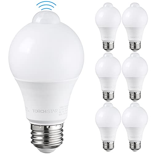 TORCHSTAR LED Motion Sensor Light Bulb, PIR Activated LED Bulb, 9W(60W Eqv.), UL Listed, Damp Location, E26 Base, Auto On/Off Lighting for Laundry, Garage, Hallway, Porch, 6000K Pure White, Pack of 6