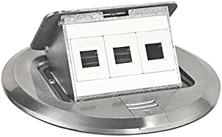 Southwire Tools & Equipment FBCVSS-3D-KIT Brushed Stainless Finish Floor Box Kit with Pop-Up Data Ports, Steel