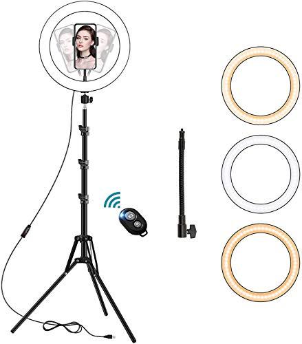 Anillo de Luz LED, 10' Ring Light Regulable con Trípode y Soporte Teléfono de Tubo Blando, Aro de Luz para Transmisión en Vivo, Fotografía, Selfie, Youtube, Grabación de Vídeo