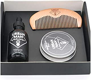 Travel Size Sandalwood Beard Oil and Balm 60ml (2 Ounce) with Wooden Comb as Perfect Gift for Men Styling Beard Grooming Kit