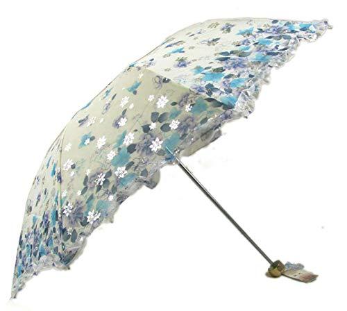 Ombrello pieghevoli, Anti UV Ombrello UPF 50+ Con pizzo Ombrello da Sole/ Pioggia,Portatile Compatto Ombrello Pieghevole Ombrello da Viaggio Blue (blu)