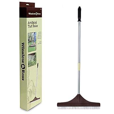 Winslow&Ross Artificial Turf Rake Grass Broom Hand Rake with Steel Telescopic Handle for Artificial Grass Pet Hair Remove by Winslow&Ross