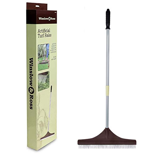Winslow&Ross Artificial Turf Rake Grass Broom Hand Rake with Steel Telescopic Handle for Artificial Grass Pet Hair Remove