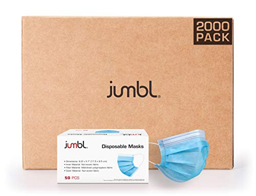 Jumbl Blue Disposable Face Masks Pack of 2000   Protective 3-Ply Breathable Comfortable Nose/Mouth Coverings for Home & Office   Elastic Ear Loop 3-Layer Safety Shield for Adults/Kids   Ships from USA