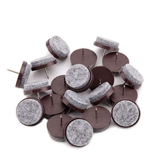 50pcs Round Heavy Duty Felt Furniture Pads,Ulifestar Nail On Furniture Sliders Hardwood Floor Protectors for Chair Table Desk Desser Cabinet Sofa Couch Leg Feet Non Slip Glides Dia 28mm/1.1 (Brown)
