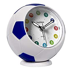 Analog Alarm Clock for Kids, Cute Football Silent Desk Small Alarm Clock for Boys Girls Bedroom Bedside Wake Up with Night Light Snooze Battery Operated (Blue)